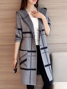 Striped Knitting Hooded Sweater Cardigan is on sale at reasonable prices, having a beautiful sweater & cardigan, you can own a beautiful autumn. Stylish Dresses For Girls, Stylish Work Outfits, Classy Outfits, Casual Outfits, Fall Outfits, Muslim Fashion, Hijab Fashion, Fashion Outfits, Coats For Women
