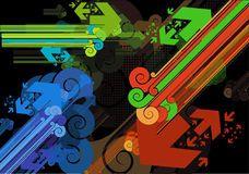 Type de bars et de flèches de diagonales rétro Image libre de droits