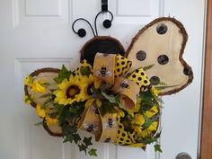 Your place to buy and sell all things handmade Bee Crafts, Flower Crafts, Crafts To Make, Gingerbread Christmas Decor, Welcome Wreath, Biscuit, Bee Theme, Boho Diy, Wreath Crafts