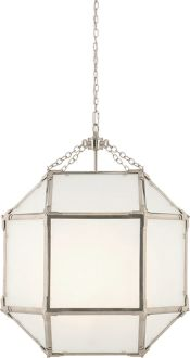 Kitchen eating nook - MORRIS MEDIUM LANTERN - Polished Nickel Frosted Glass s840.00, clear or frosted glass???!