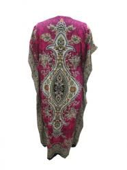 Pink Kaftan Women's Floral Print Resort Wear Long Caftan
