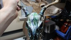 WHO_TEE_WHO shows you how to hydrodip a deer skull with spray paint. This is a very cheap way to dress up any European mount. Deer Skulls, Animal Skulls, Diy Hydro Dipping, Hydro Painting, European Mount, Skull Decor, Antlers, Dips, Crafts For Kids