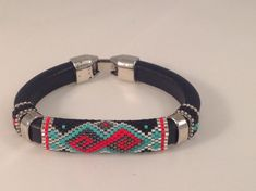 Licorice Leather Peyote Bracelet by Calisi on Etsy,