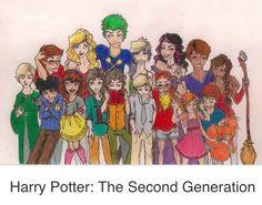 Top row: James Sirius Potter, Victorie Weasley, Teddy Lupin,   Dominique Weasley, Molly Weasley, Fred Weasley, Roxanne Weasley... Bottom Row: Scorpius Malfoy, Albus Severus Potter, Rose Weasley, Lorcan Scamander, Lysander Scamander, Louis Weasley, Lucy Weasley, Lily Luna Potter, Hugo Weasley.