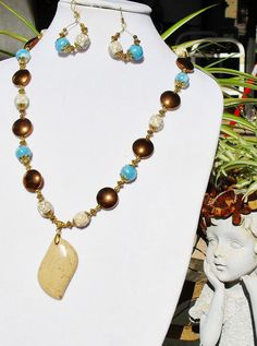 Copper & aqua jewelry set sandstone jewelry copper by ElmsRealm