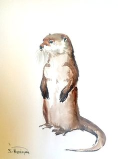 River Otter, original watercolor painting, 12 X 9 in, by artist Suren Nersisyan -- available at Etsy (link on image)
