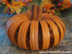 Canning Lid Pumpkin. Spray paint canning lids orange, connect with string or twine, then insert cinnamon sticks in the center. Cute scented gal decoration