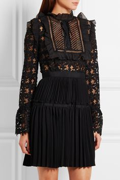 Self-Portrait | Adeline organza-trimmed guipure lace and crepe mini dress | NET-A-PORTER.COM - Must have #19