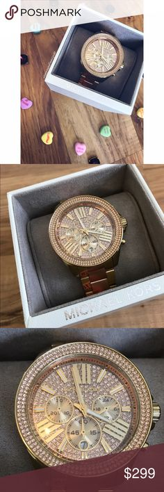 Michael Kors Watch Fall in love with this beautiful gold watch. Bedazzled in rose colored diamonds makes this gem shine bright like a ! New with tags and box! Michael Kors Jewelry