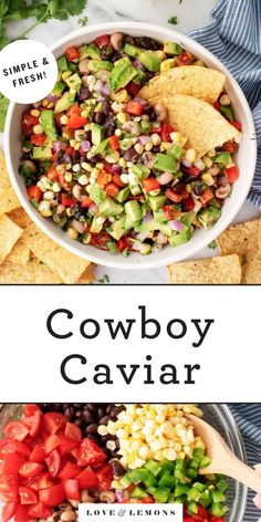 This Cowboy Caviar recipe is a fresh, delicious salad or dip! Also known as Texas Caviar, it's made with beans, corn, tomatoes, bell pepper, and onion.