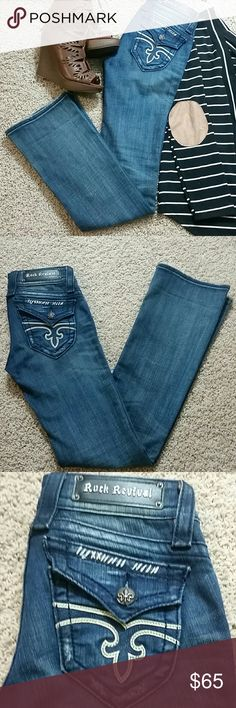 "Rock Revival Denim Jen Boot Jeans Sz 25 Womens Rock Revival Jen Boot Denim Jeans. Sz 25 Inseam: 34"" Leg Opening: 8"" Rock Revival Jeans Boot Cut"