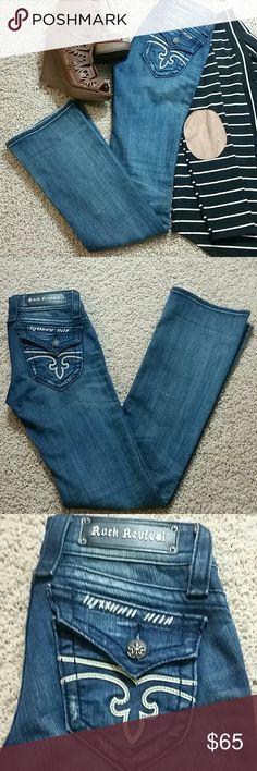 """Rock Revival Denim Jen Boot Jeans Sz 25 Womens Rock Revival Jen Boot Denim Jeans. Sz 25 Inseam: 34"""" Leg Opening: 8"""" Rock Revival Jeans Boot Cut"""