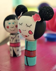 Activities: Kokeshi Doll - Recreate a traditional craft from Japan using regular household items! Kokeshi dolls have been around since the 17th century, and now your child can have a piece of Japanese history and culture right at home.
