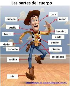 Las partes del cuerpo - Spanish vocabulary for body parts. This funny drawing will help you memorize body parts in Spanish. If you find this info graphic useful, please share, like or pin it for your friends. Spanish Grammar, Spanish Vocabulary, Spanish 1, Spanish Language Learning, Spanish Teacher, Spanish Classroom, How To Speak Spanish, Teaching Spanish, Learn Spanish