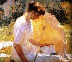 Frank Weston Benson (1862–1951) – The Reader (1910). American Impressionism.