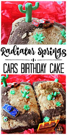 My boys are both huge fans of the Pixar CARS movies, and I had a BLAST making this Radiator Springs birthday cake for my youngest! Cars Birthday Parties, Birthday Ideas, Themed Parties, 4th Birthday, Birthday Cakes, Movie Cakes, Radiator Springs, Best Cake Recipes, Easy Recipes