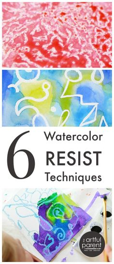6 watercolor resist techniques, including crayon (and melted crayon) resist, glue resist, sticker & tape resist, rubber cement resist, and wax resist.