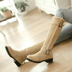 Shop Fashion Buckle Warm Winter Knee High Boots on sale at Tidestore with trendy design and good price. Come and find more fashion Knee High Boots here. Black Knees, Boots For Sale, Knee High Boots, Riding Boots, Chelsea Boots, Heeled Boots, Shoe Shoe, Lingerie, Closet Space