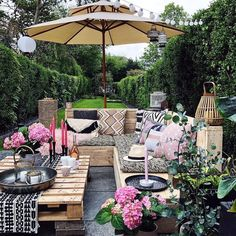 'Looking Down' the garden (for and a bit of a change of perspective for you on the patio makeover (btw this parasols… Cozy Backyard, Backyard Landscaping, Outdoor Rooms, Outdoor Living, Outdoor Decor, Outdoor Patios, Outdoor Kitchens, Patio Design, Garden Design
