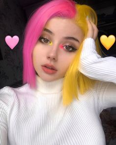 Find images and videos about pink, beauty and makeup on We Heart It - the app to get lost in what you love. Half Colored Hair, Half And Half Hair, Hair Dye Colors, Cool Hair Color, Brown Hair Colors, Scene Hair Colors, Neon Hair, Pink Hair, Violet Hair