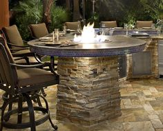 Built in Barbecue Islands | Custom Fire Pit Built-In to Barbecue Island
