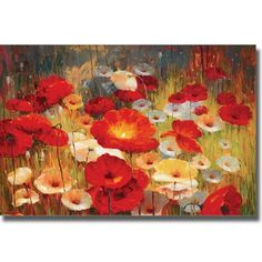 Meadow Poppies I by Lucas Santini Stretched Canvas Art Love this above mantel - $143