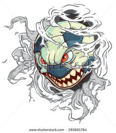 #Vector #cartoon #clipart #illustration of a mean angry #monster #soccer ball or #football ripping through the background. Character is on a separate layer in the vector file for easy custom changes.