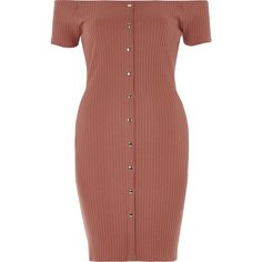 River Island Pink popper front bardot dress (€45) ❤ liked on Polyvore featuring dresses, bodycon dresses, pink, women, pink day dress, pink short sleeve dress, short sleeve bodycon dress, pink ribbed dress and snap dress