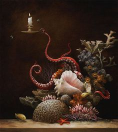 'Optimist Reef' by Kevin Sloan Fine Art Part of Platinum Blend 2 opening January 2016 at Modern Eden Gallery. Curated by Stephanie Chefas of Platinum Cheese. Superflat, Octopus Art, Octopus Tentacles, Magic Realism, Pop Surrealism, Kirigami, Surreal Art, Fantasy Art, Art Photography