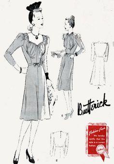 1940s Butterick 1317 Glamorous Swing Era Frock/ by sandritocat, $65.00