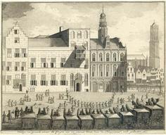 Het Stadhuis van Utrecht. Op de voorgrond staan de koetsen van de onderhandelaars van de Vrede van Utrecht. Bron: Het Utrechts Archief.