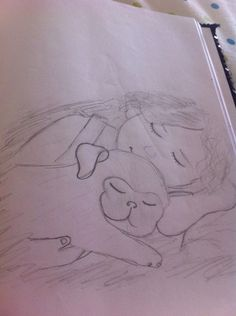 Sleepy puppy drawing