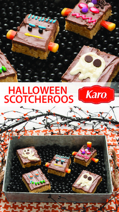 Need an easy, no-bake recipe for Halloween? Start with the classic Karo Scotcheroos recipe and let your imagination go wild. For extra fun, set up a DIY dessert station with your favorite toppings and suggestions on spooky creations your kids or party guests can try making.