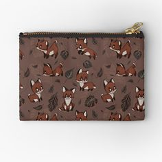 'Baby Foxes chasing Leaves - Cute pattern & design' Zipper Pouch by MonoMano Cute Pattern, Pattern Design, Baby Foxes, Unique Bags, Gifts For Family, Zipper Pouch, Pouches, Are You The One, Cat Lovers