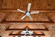 Vaulted ceiling in great room with exposed beams and boards, ceiling fans and recessed lighting