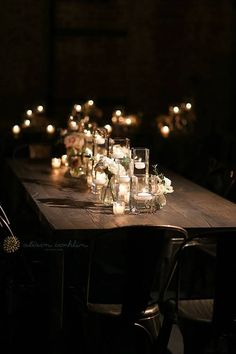 Industrial-Meets-Rustic Green Building Brooklyn Wedding, Wooden Tables Covered with Low Candles