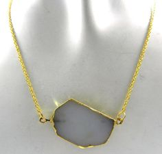 AAA+ Quality White Agate Brass 18k Gold Electroplated Fashion jewelry Necklace #MagicalCollection #Pendant