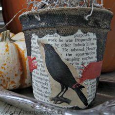 My Heart's Song: Peat Pot Autumn Decor