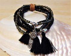 MILA - 5-er Perlenarmband - schwarz Tassel Necklace, Jewelry, Fashion, Semi Precious Beads, Wristlets, Black, Moda, Jewlery, Jewerly