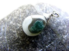 Moss agate charm, agate silver charm, white green charm, interchangeable charm, removable charm, agate dangle, agate drop, white agate charm