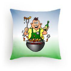 BBQ - Grill throw pillow. #Redbubble #Cardvibes #Tekenaartje