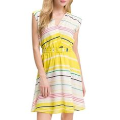 "HP PRESLEY SKYE Sloane Belted Stripe Dress HOST PICK 2/8/16 Top TrendsNarrow candy stripes sweeten a sunny yellow-and-white belted dress cut from a fine blend of cotton and silk. Slips on over head with a snap at v-neck. Elastic waist and Fully lined 70% Cotton 30% silk; liner is 100% cotton. dry clean.  Approx flat measurement 34.5"" length 17"" across shoulders 16"" across bust 12"" waist (elastic not stretched) great condition but may have some fine wrinkles in fabric that can be flattened…"