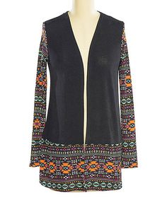 Take a look at this Black & Orange Tribal-Trim Cardigan on zulily today!