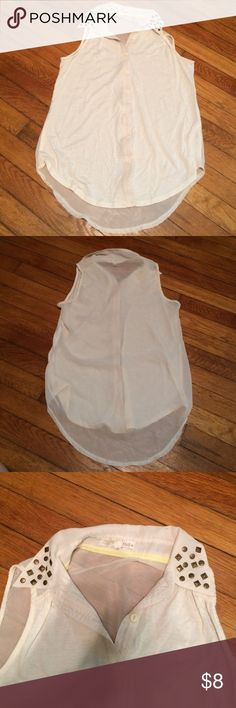 Tank top button up shirt Off white tank with a see through back. None of the stud embellishments on the collar are missing. Rewind Tops Tank Tops