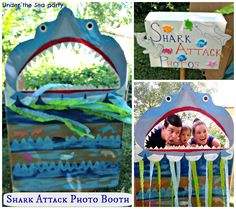 {First Birthday} Under the Sea: Decor and Games, Shark Attack Photo Booth, game signs, Birthday theme, party planning, party ideas, party DIYs and tutorials, kid's/boy's birthday theme