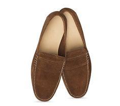 Gaillard Hermes men's moccasin in havana suede calfskin, hand-sewn upper, grezzo sole