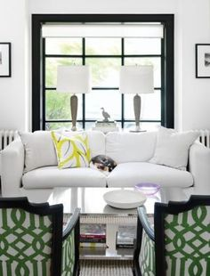 love the mix of the patterned chairs w/B living room with green patterned chairs.jpg