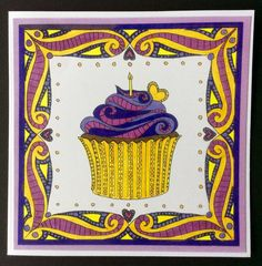 Yellow and Purple Cupcake by ADeckerDesigns on Etsy