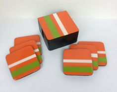 Coasters and Box handmade , painted wood, solid color Orange witrh stripes Painted Wood, Hand Painted, Arte Country, Wood Coasters, Clear Resin, Bubble Wrap, Beautiful Bags, Painting On Wood, Fused Glass