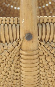 Attributed to the Shelton Sisters, Forsythe County, North Carolina, late 19th/early 20th century, finely woven oak splits on bentwood frame, 6-1/4 x 6 x 6-1/4 in, -  Lovely to see the detail of the weaving.